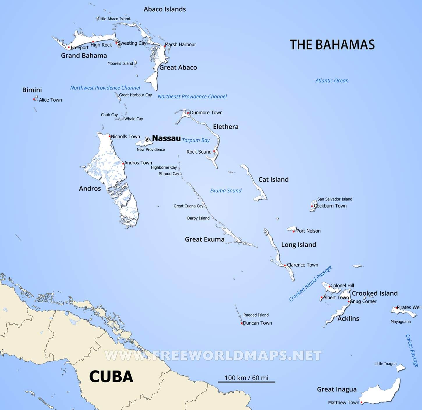 Bahamas Map Geographical features of Bahamas of the Caribbean