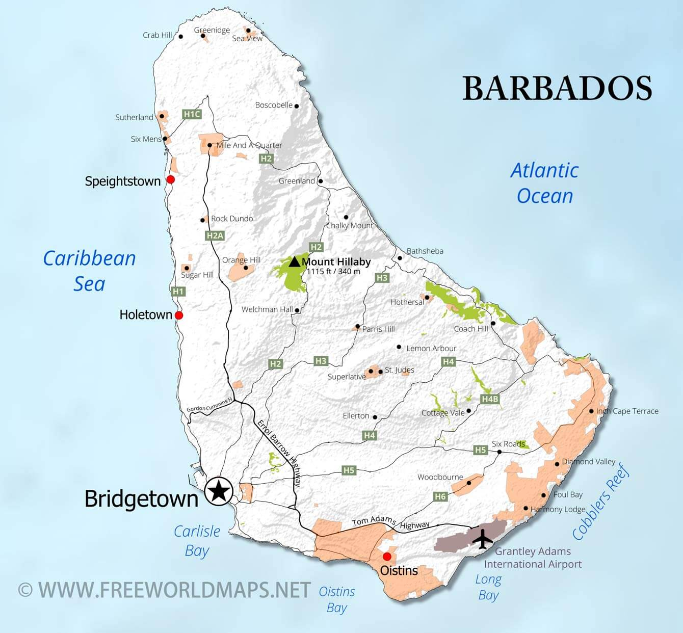 Barbados Map; Geographical features of Barbados of the ...