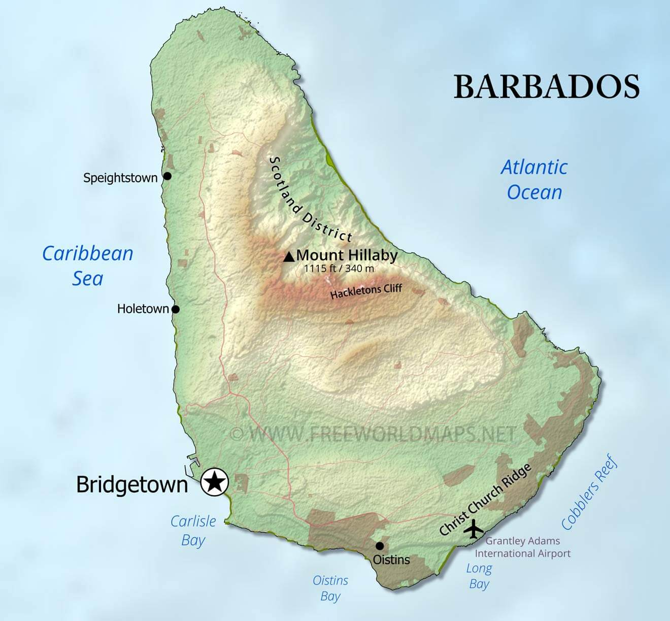 Barbados Map Geographical Features Of Barbados Of The Caribbean Freeworldmaps Net