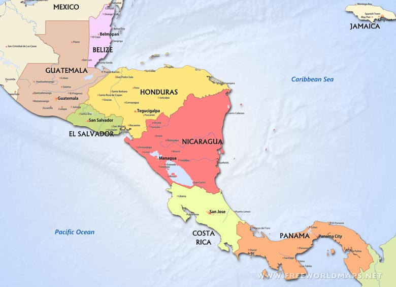 Central America Political Map on