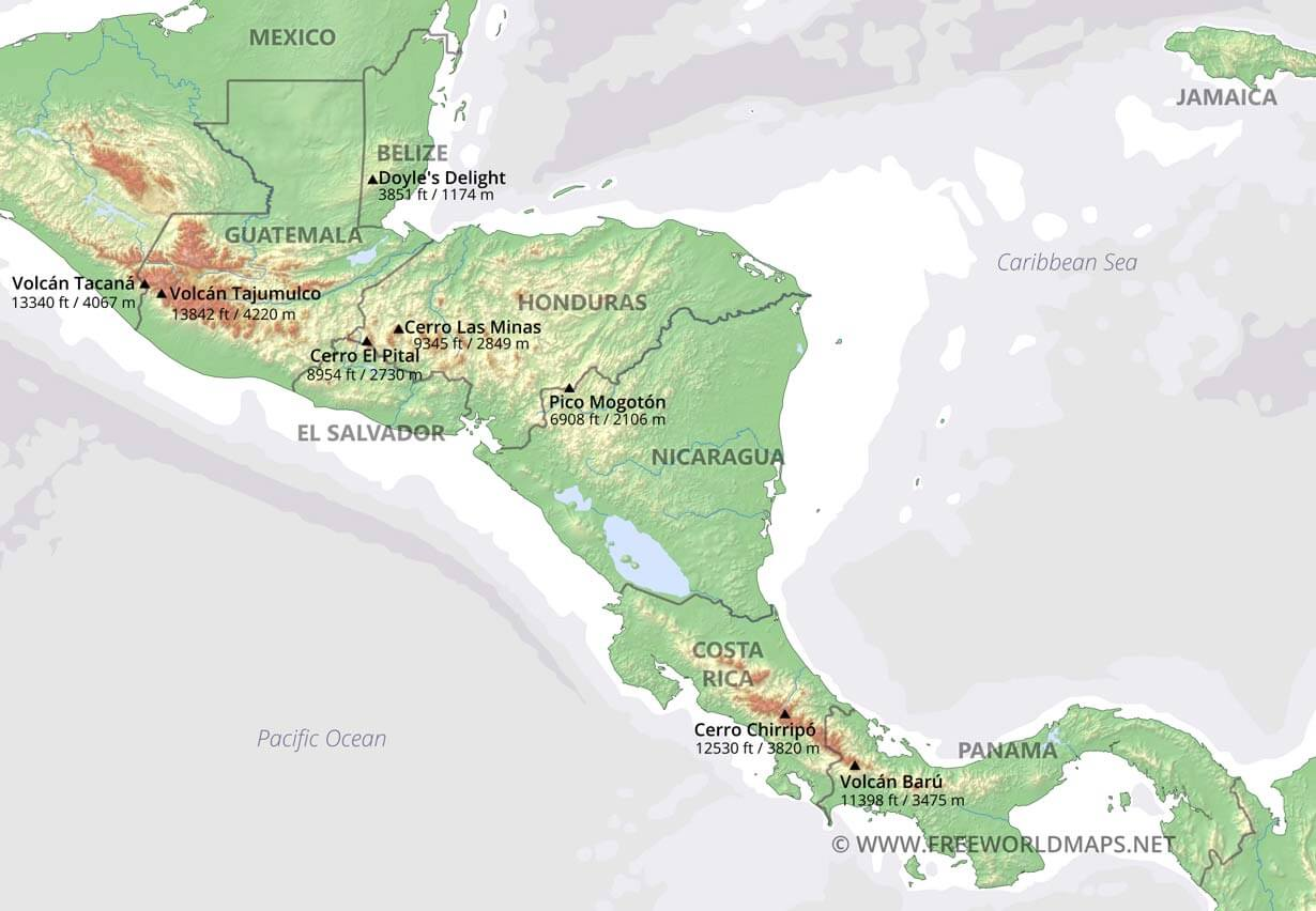 Geographical Map Of Central America