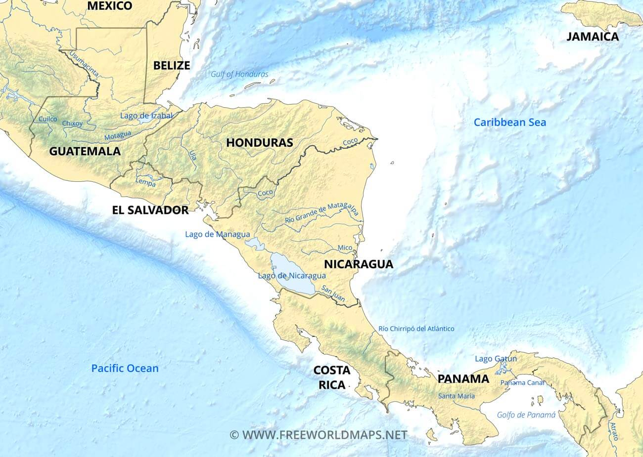 Picture of: Geographical Map Of Central America