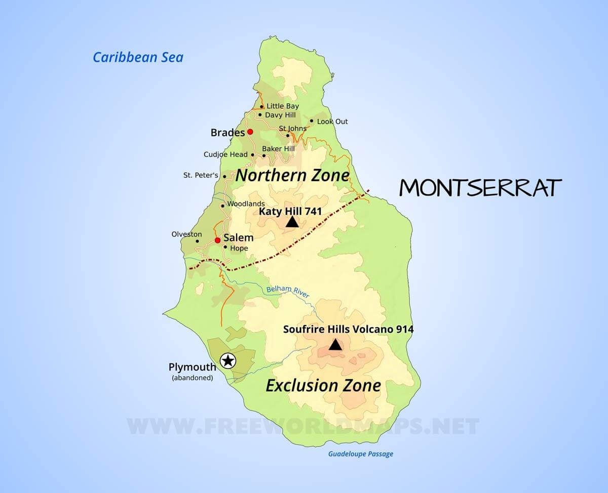 Montserrat Map; Geographical features of Montserrat of the ... on