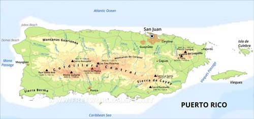 puerto rico geographical map Puerto Rico Map Geographical Features Of Puerto Rico Of The Caribbean Freeworldmaps Net puerto rico geographical map