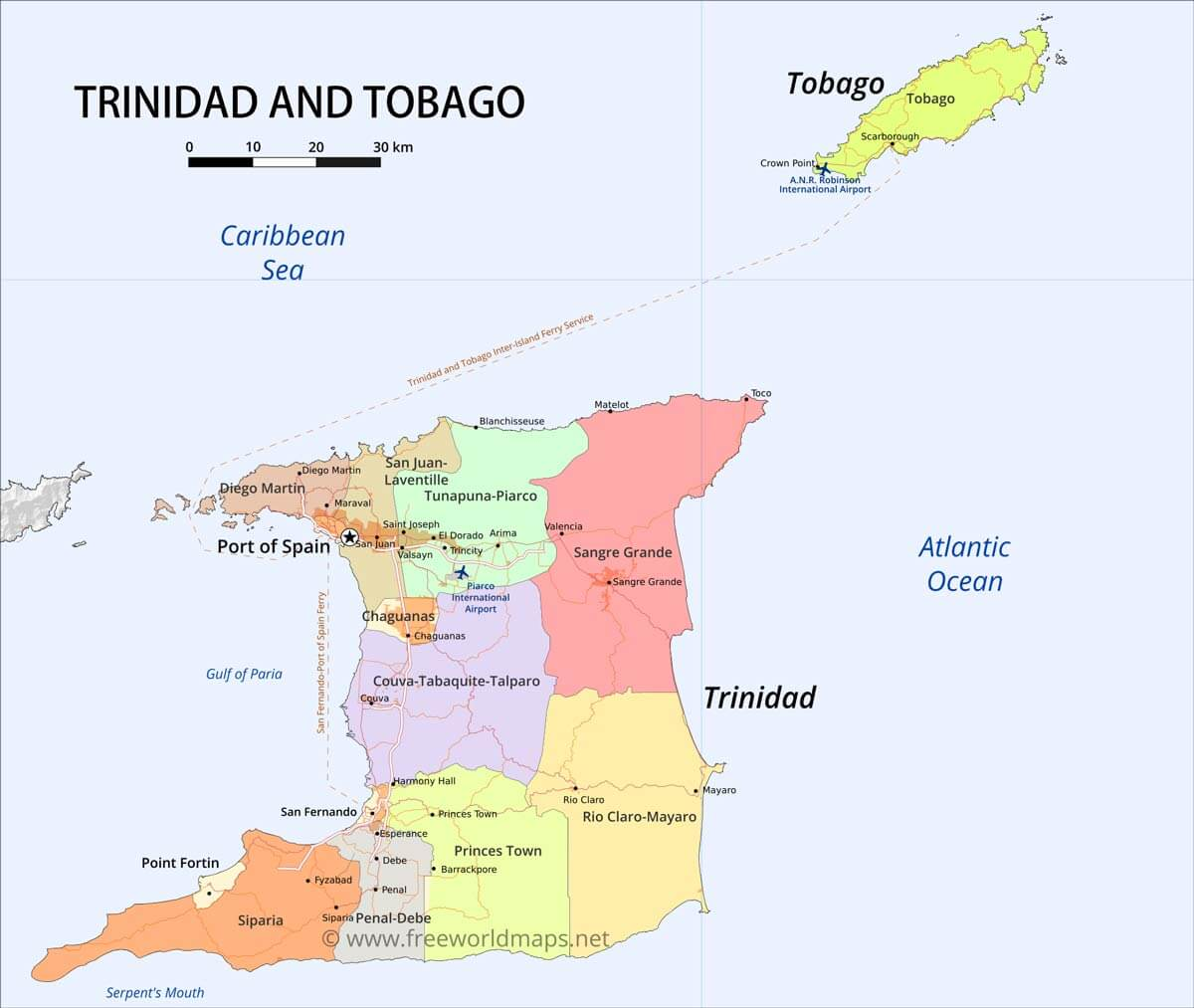 Trinidad And Tobago Map Geographical Features Of Trinidad And Tobago Of The Caribbean Freeworldmaps Net