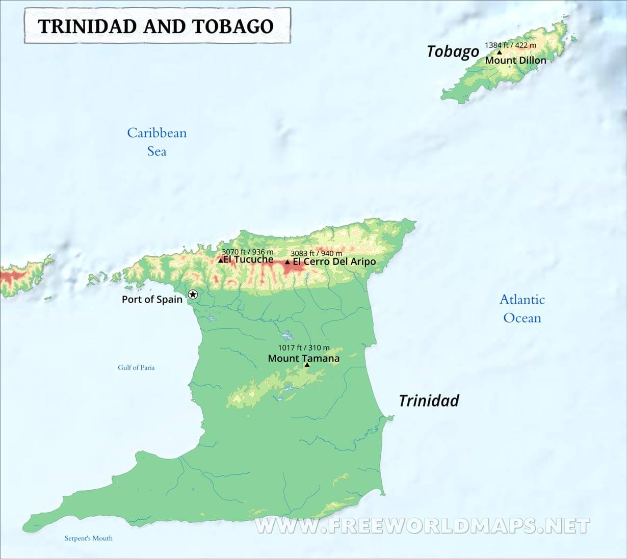 Image of: Trinidad And Tobago Map Geographical Features Of Trinidad And Tobago Of The Caribbean Freeworldmaps Net