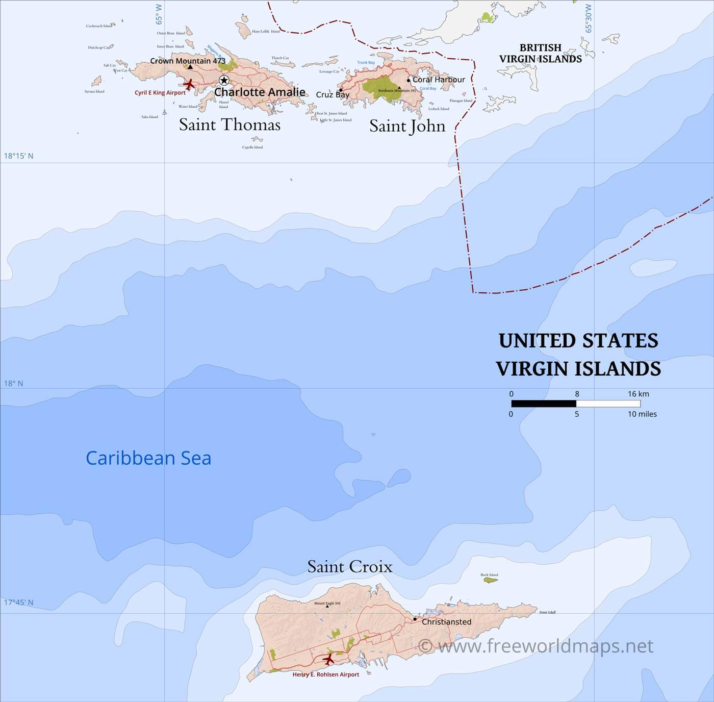United States Virgin Islands Map; Geographical features of ...