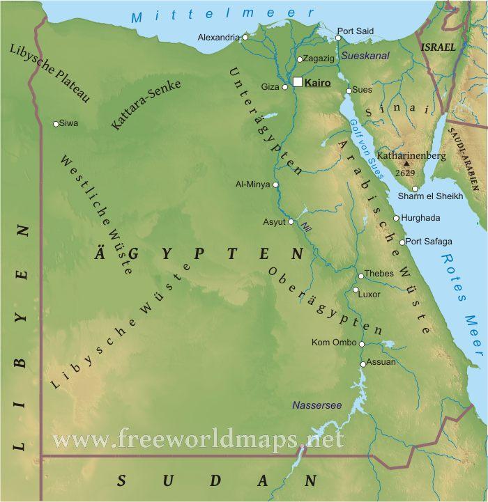 Karte ägypten Sharm El Sheikh.Karte Von ägypten Freeworldmaps Net