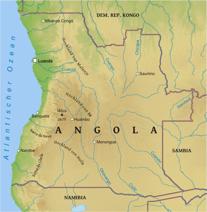 Karte Von Angola Freeworldmaps Net