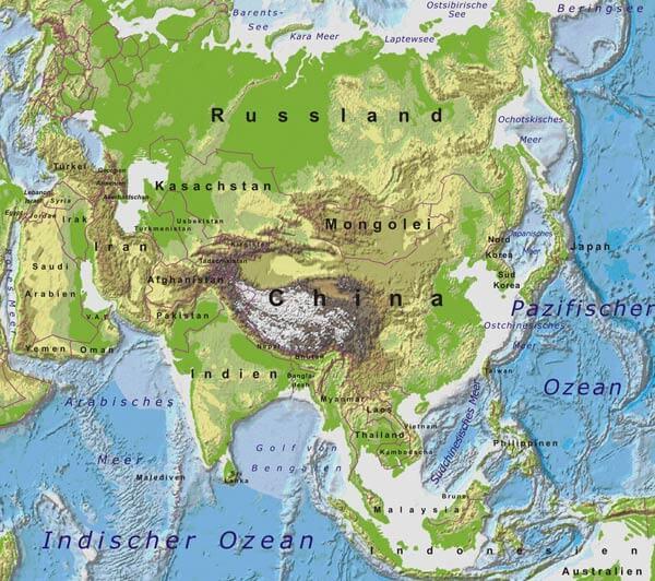 Karte Asien.Karte Von Asien Freeworldmaps Net