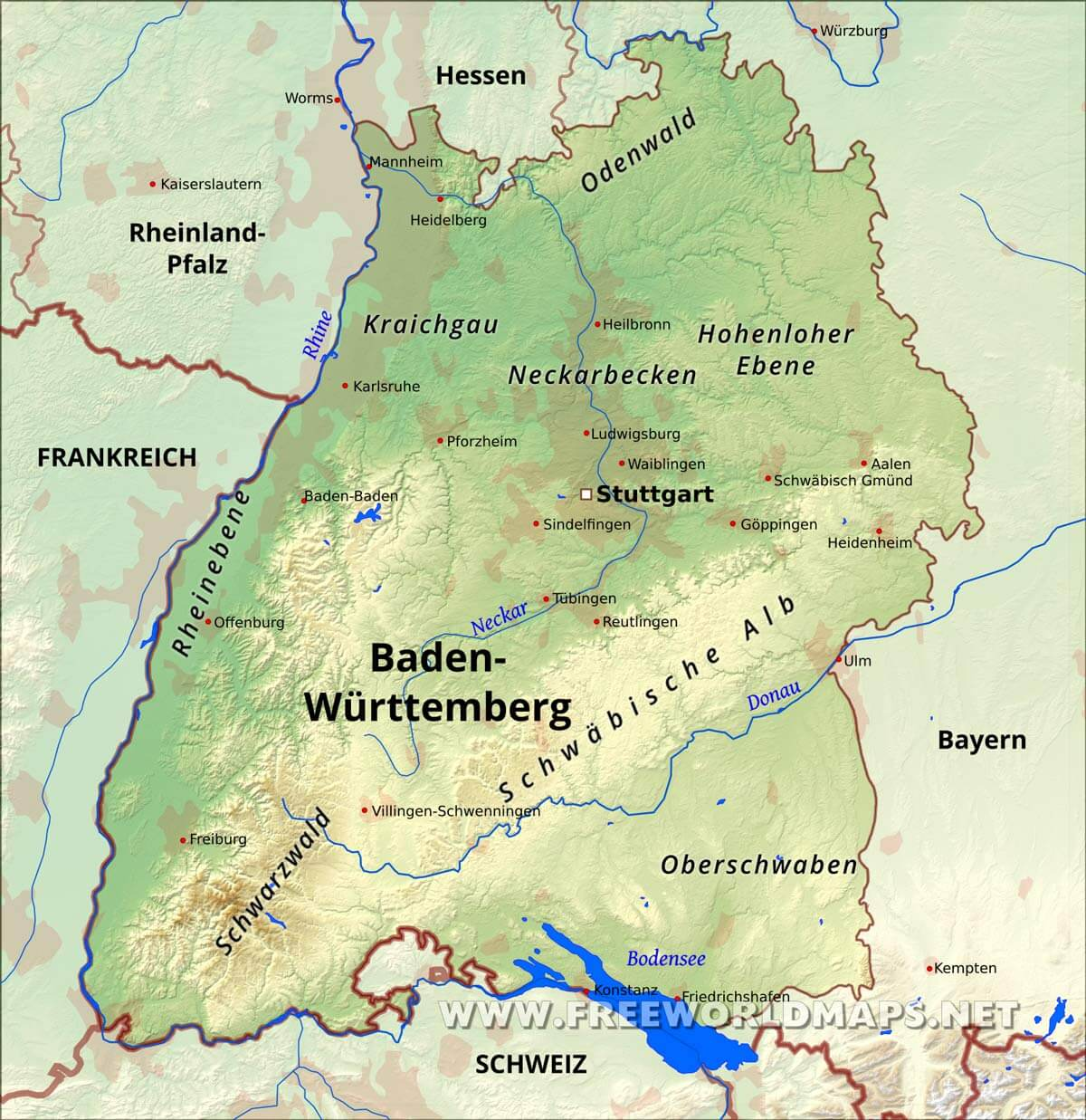 Baden Wurttemberg Karte Freeworldmaps Net