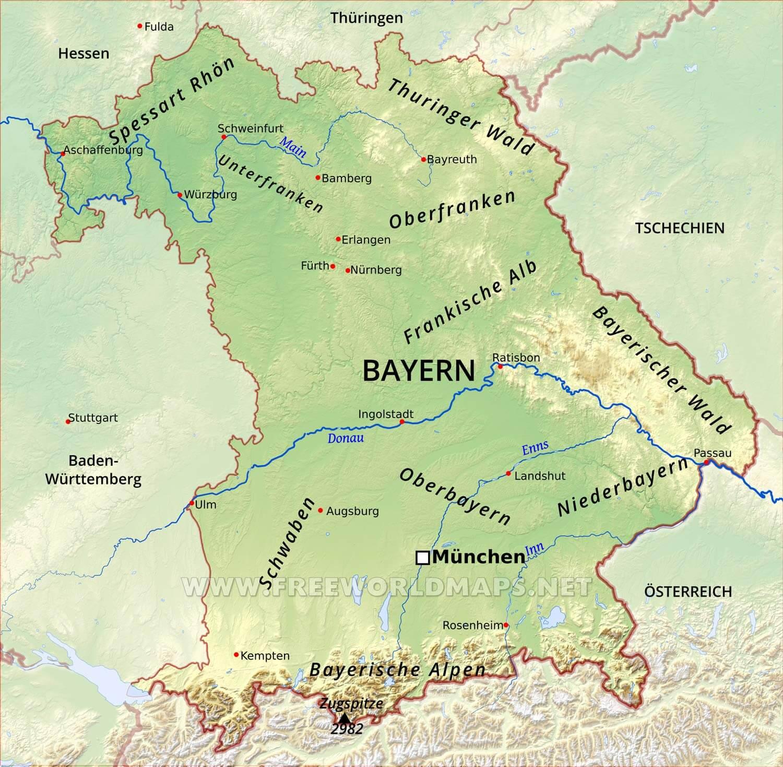 Karte Bayern.Bayern Karte Freeworldmaps Net