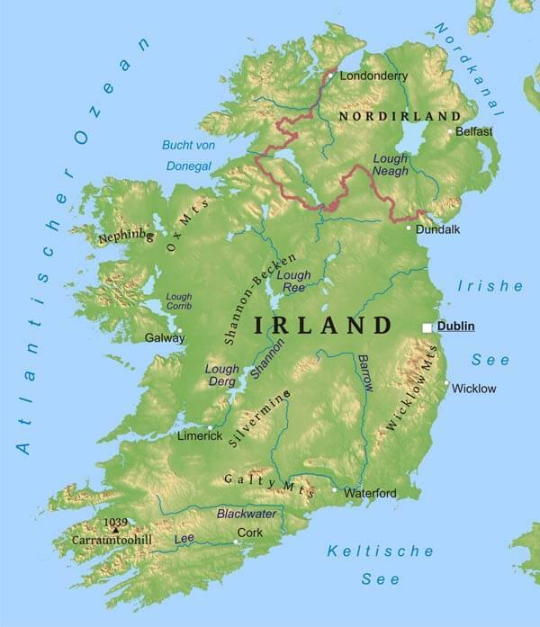 Irland Karte Städte.Karte Von Irland Freeworldmaps Net