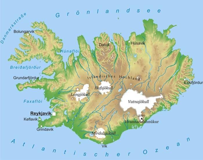 Karte Von Island Freeworldmaps Net