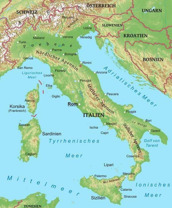 Karte Von Italien Freeworldmaps Net