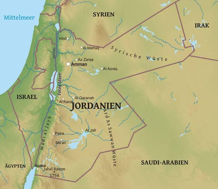 Karte Von Jordanien Freeworldmaps Net