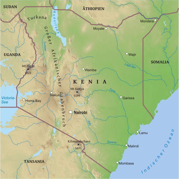 Mount Kenia Karte.Karte Von Kenia Freeworldmaps Net