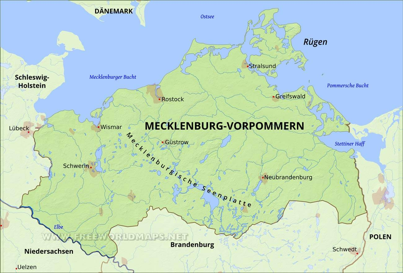 Mecklenburg Vorpommern Karte Freeworldmaps Net