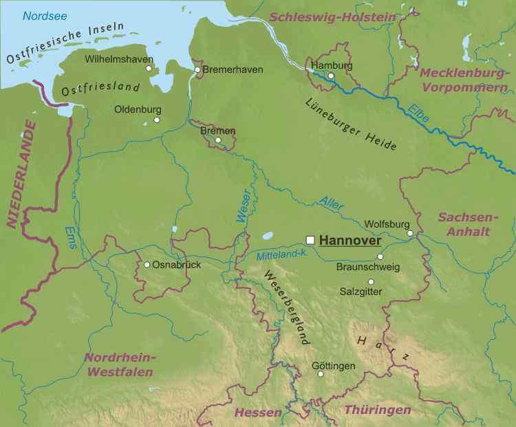 Karte Nordseeküste Niedersachsen.Niedersachsen Karte Freeworldmaps Net