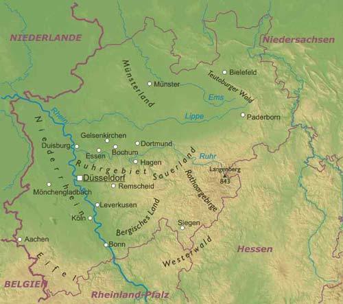 Nordrhein-Westfalen geographische karte