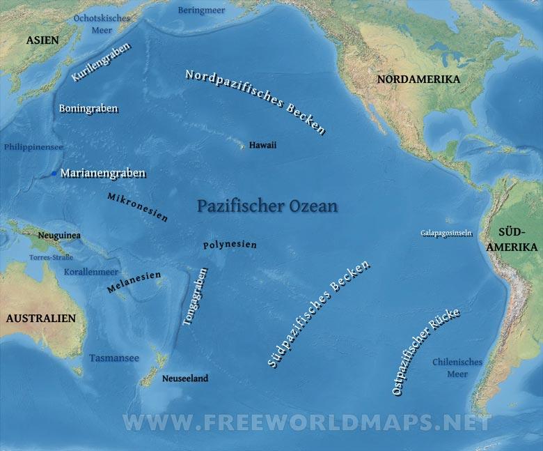 pazifischer ozean karte Pazifischer Ozean Karte   Freeworldmaps.net pazifischer ozean karte