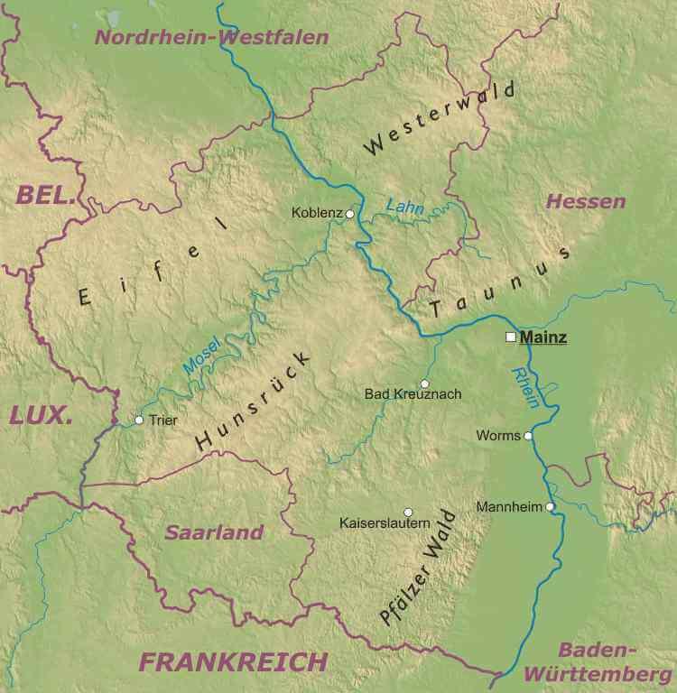 Karte Baden Württemberg Rheinland Pfalz.Rheinland Pfalz Karte Freeworldmaps Net