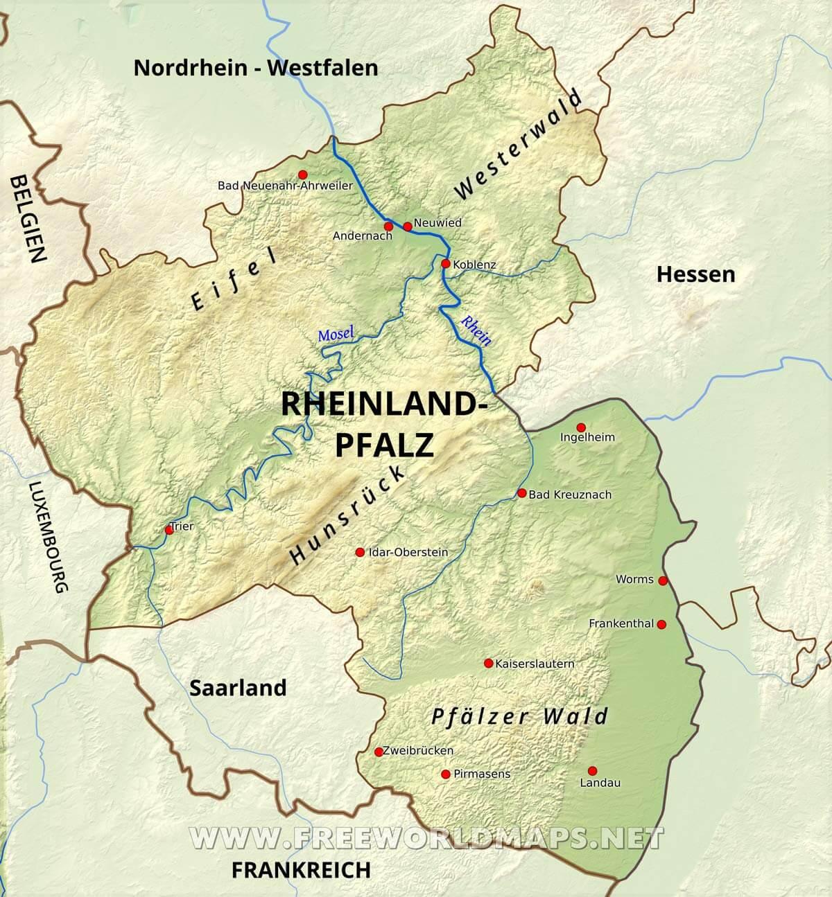 Rheinland Pfalz Karte Freeworldmaps Net