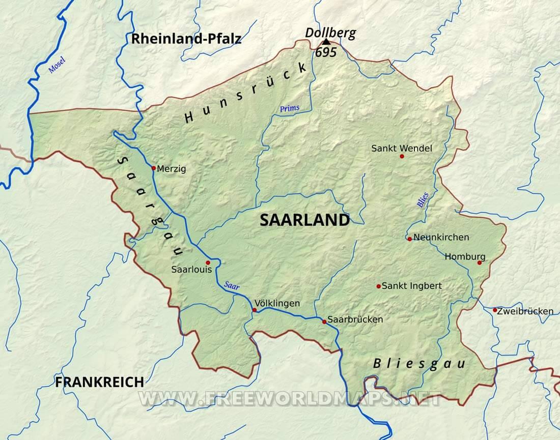 karte saarland Saarland Karte   Freeworldmaps.net karte saarland