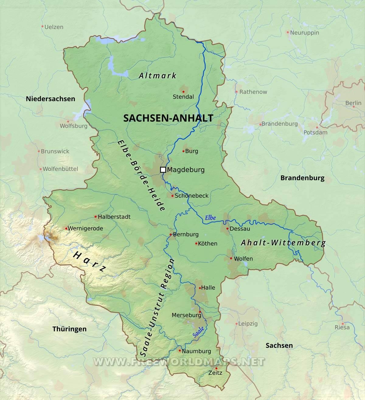 Sachsen Anhalt Karte Freeworldmaps Net