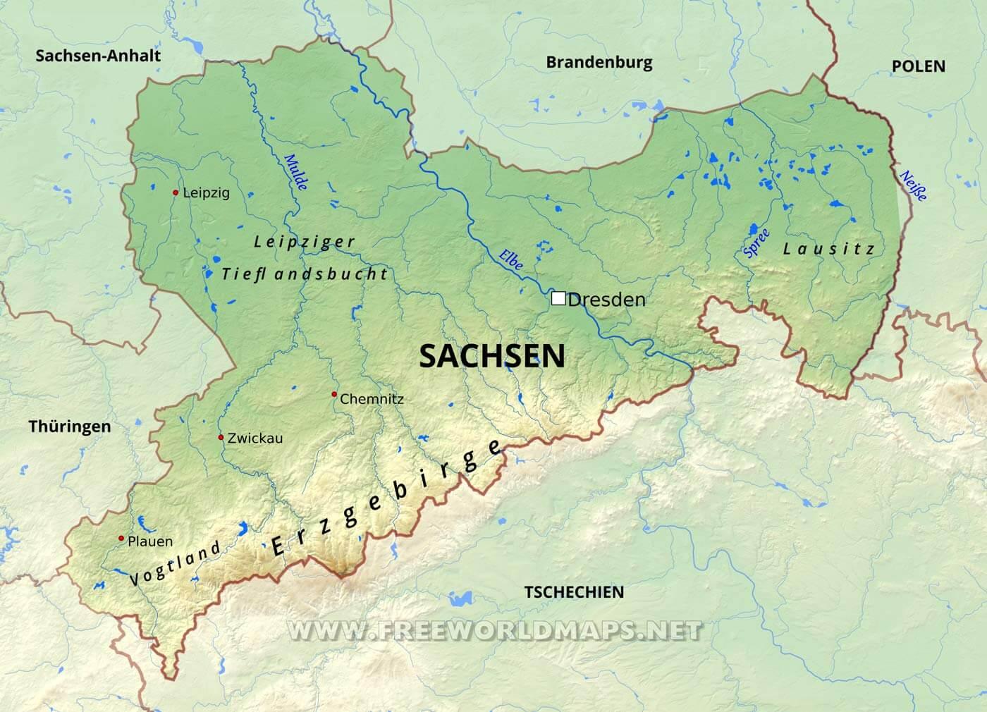 sachsen karte Sachsen Karte   Freeworldmaps.net