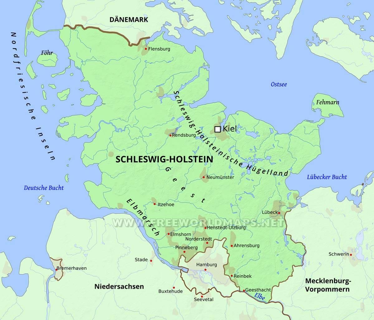 Kieler Bucht Karte.Schleswig Holstein Karte Freeworldmaps Net