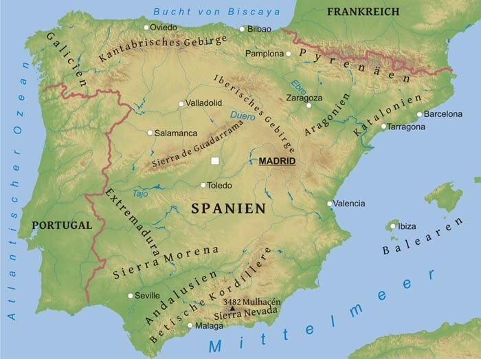 Spanische Karte.Karte Von Spanien Freeworldmaps Net