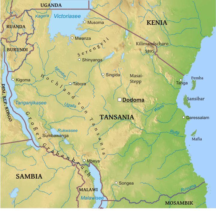 Karte Von Tansania Freeworldmaps Net