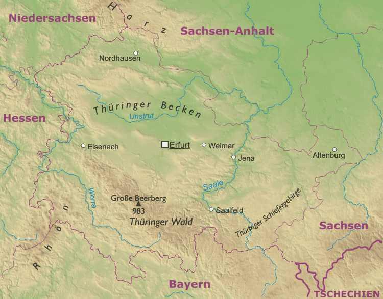 Karte Thüringen.Thüringen Karte Freeworldmaps Net