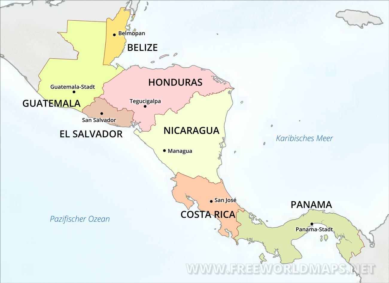 Zentralamerika Karte Freeworldmaps Net