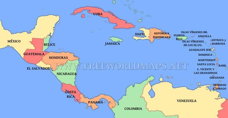 Mapa Sudamerica Y Centroamerica.Mapa Politico De America Central Y Del Caribe
