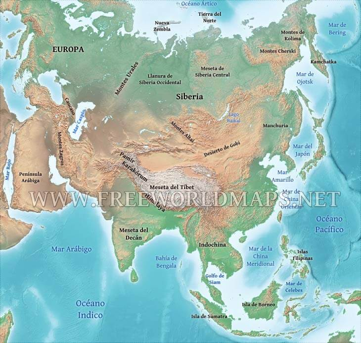 Montes Altai Mapa Fisico.Mapa Fisico De Asia