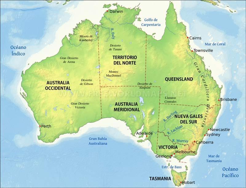 Mapa De Oceania Fisico En Español.Mapa Fisico De Australia