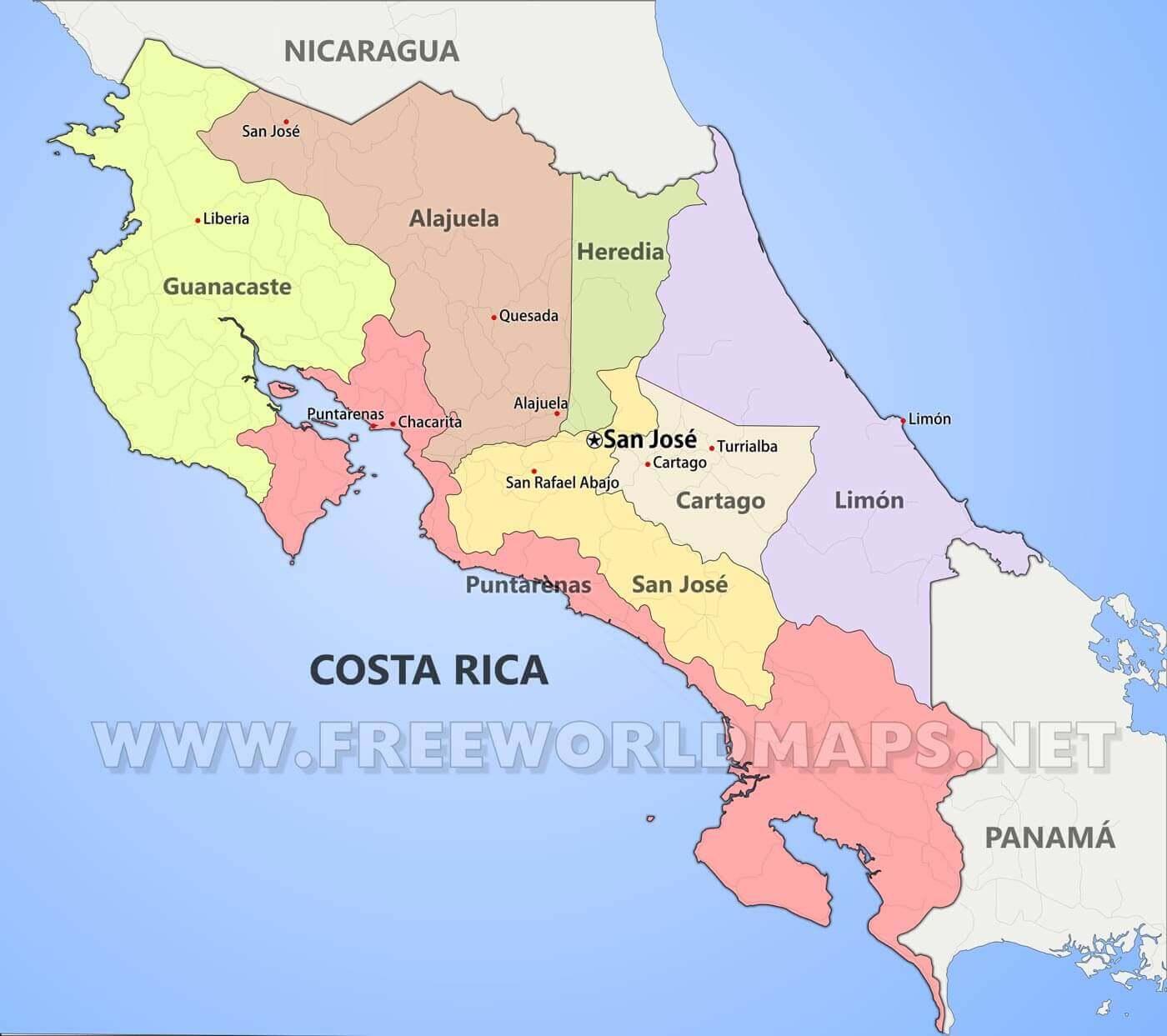 costa rica mapa Mapa físico de Costa Rica   Geografía de Costa Rica costa rica mapa