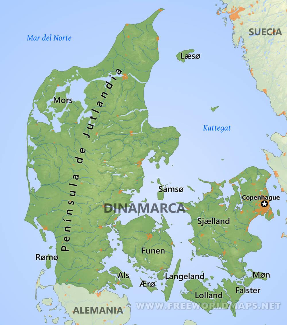 dinamarca mapa Mapa de Dinamarca dinamarca mapa