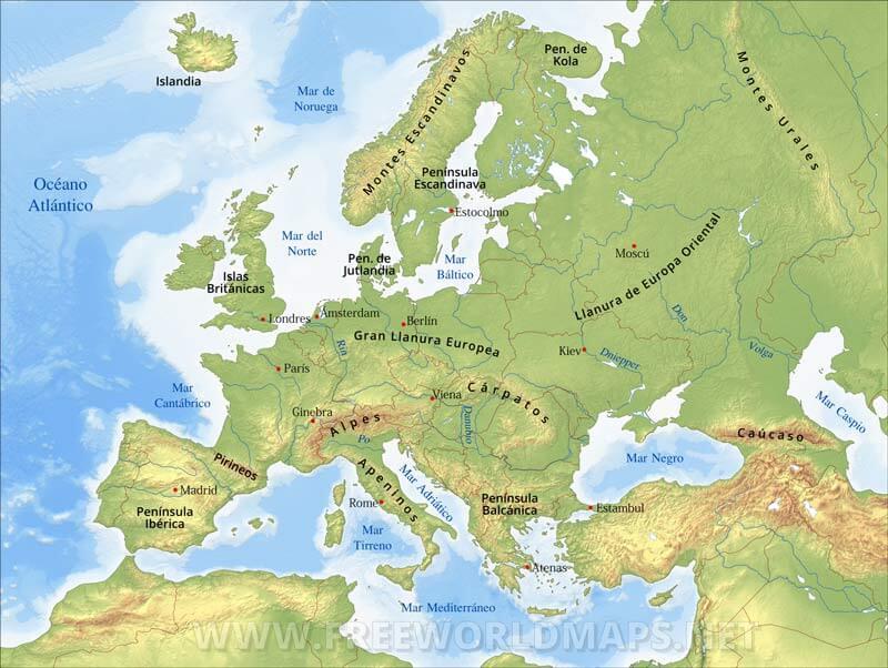 Mar Baltico Mapa Fisico.Mapa Fisico De Europa