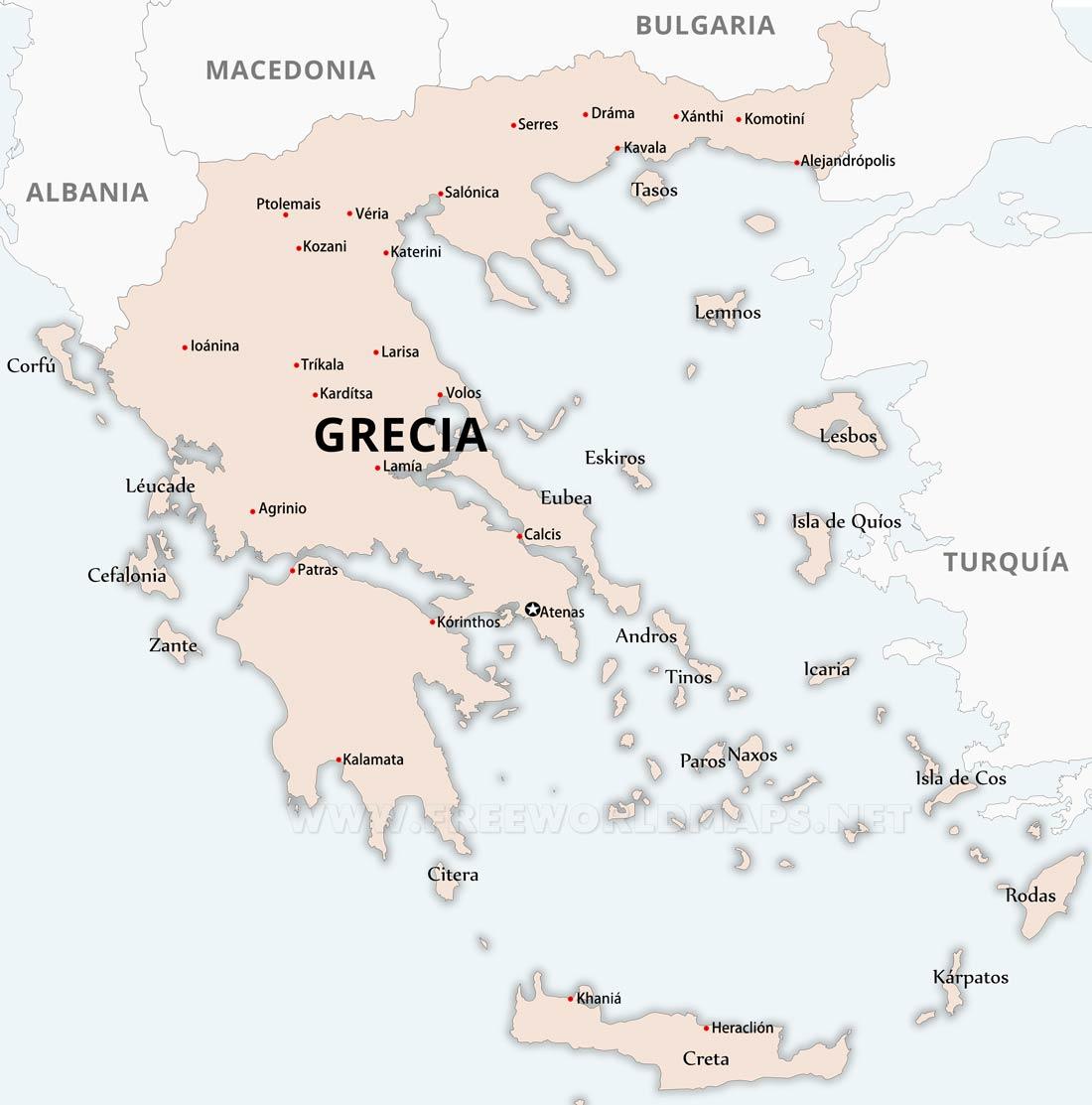 Mapa Mudo Grecia Antigua.Mapa De Grecia