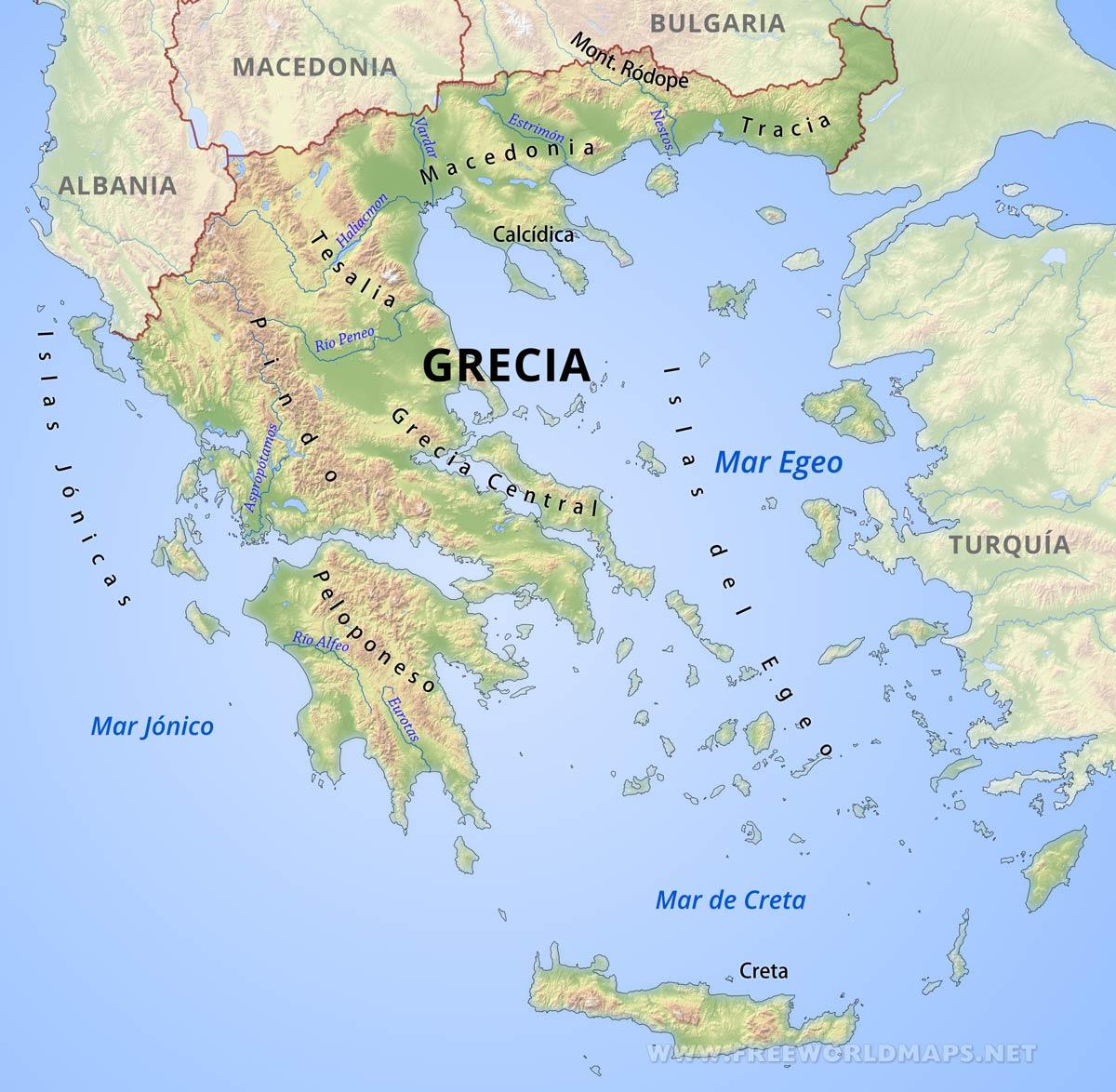 grecia no mapa Mapa de Grecia grecia no mapa