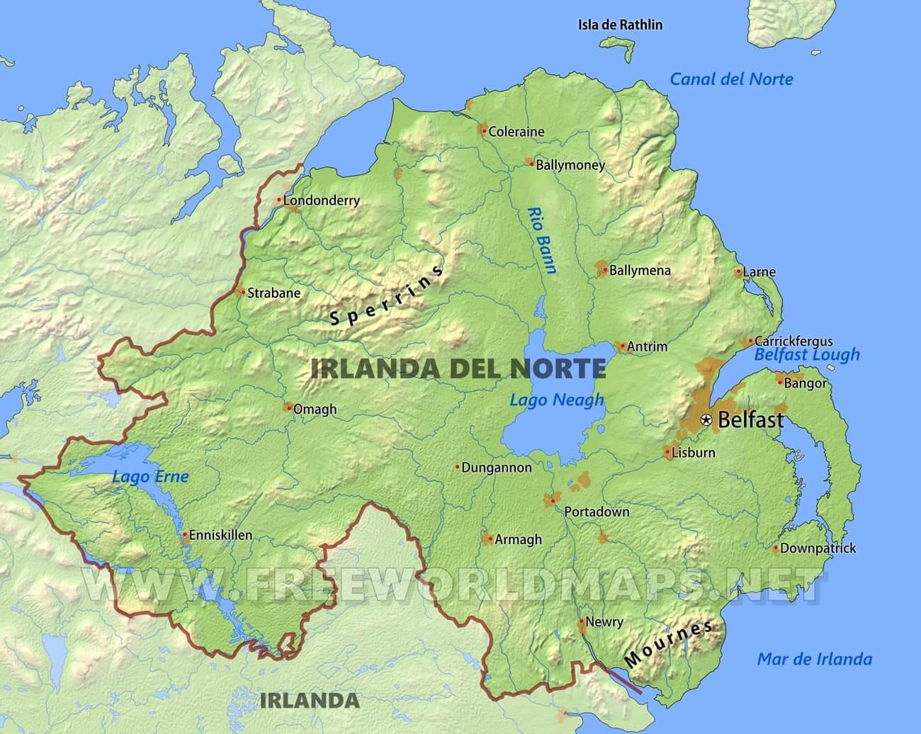 Mapa Irlanda Del Norte.Mapa De Irlanda Del Norte