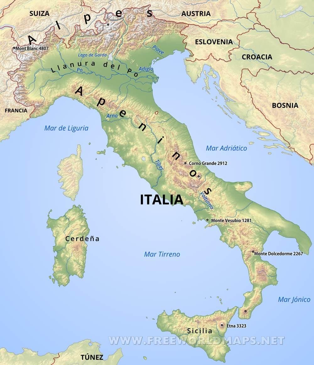 Mapa De Italia Fisico.Mapa De Italia