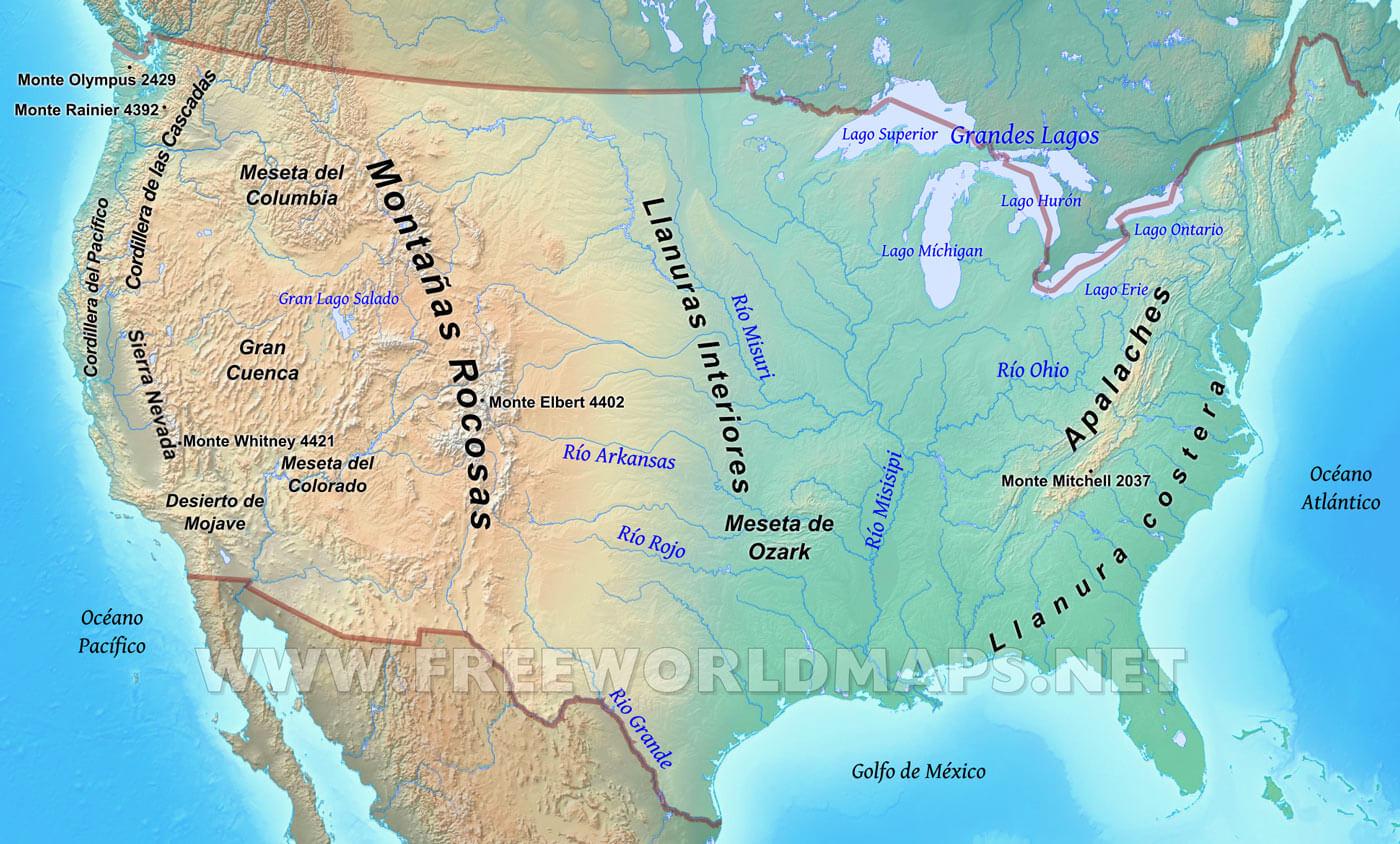 Estados Unidos Mapa Fisico De Los Estados Unidos