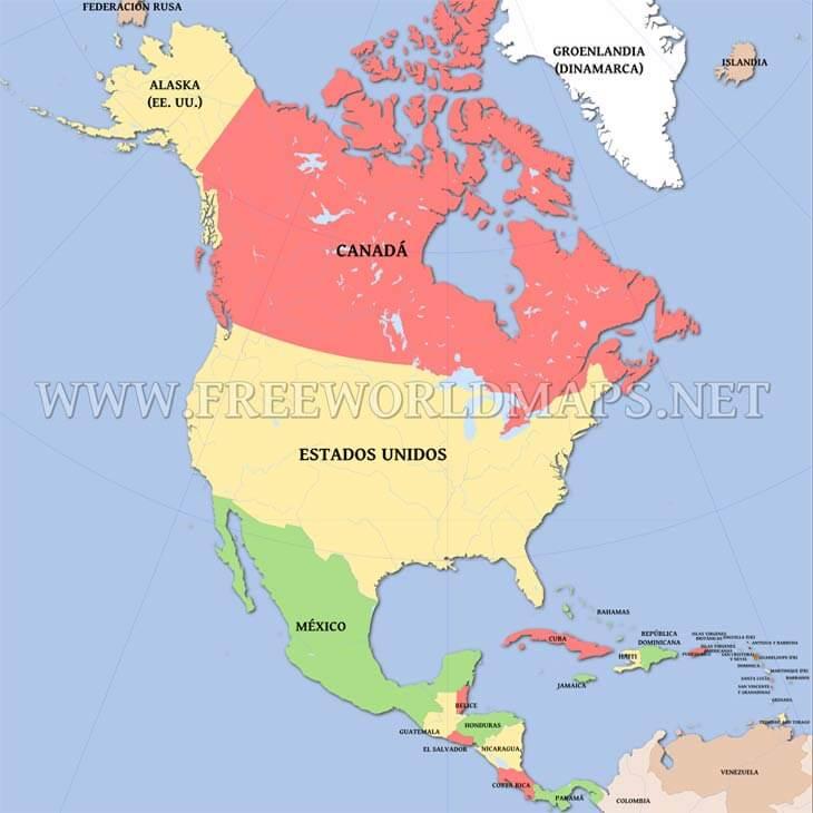 Mapa Politico De America Del Norte.Mapa Politico De Norteamerica