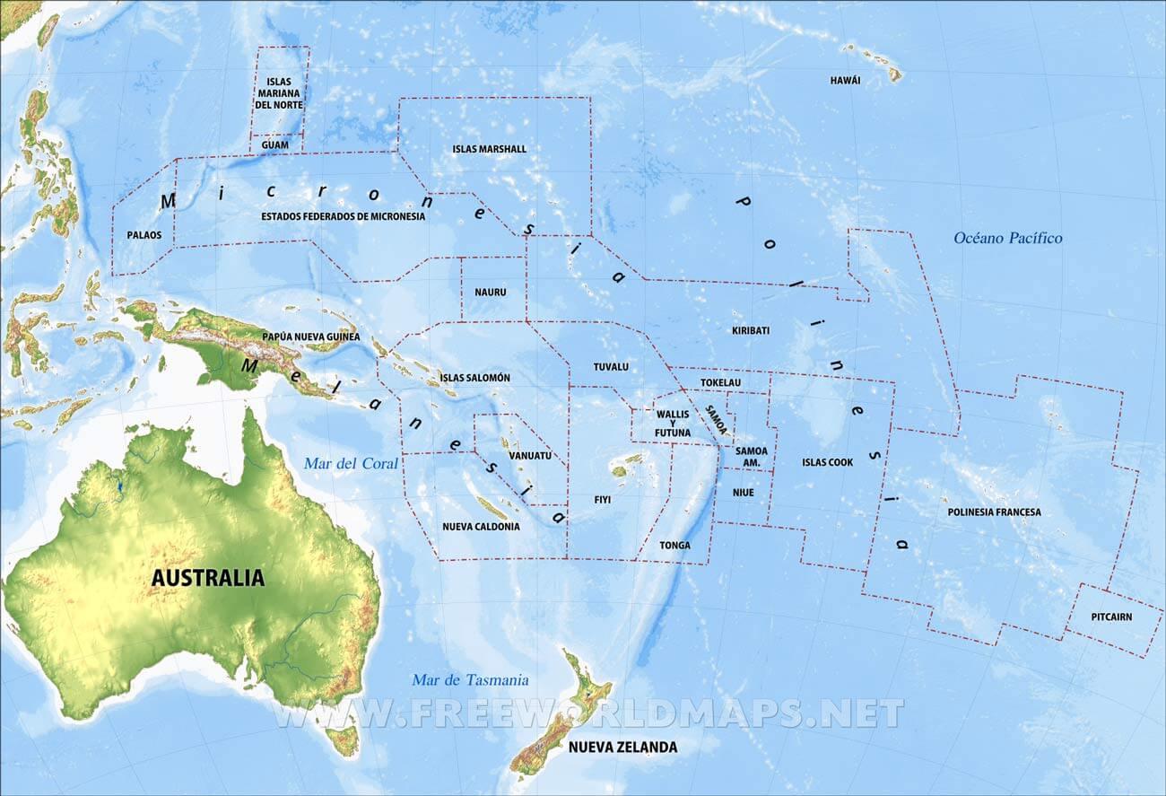 Mapa De Oceania Fisico En Español.Mapa Fisico De Oceania