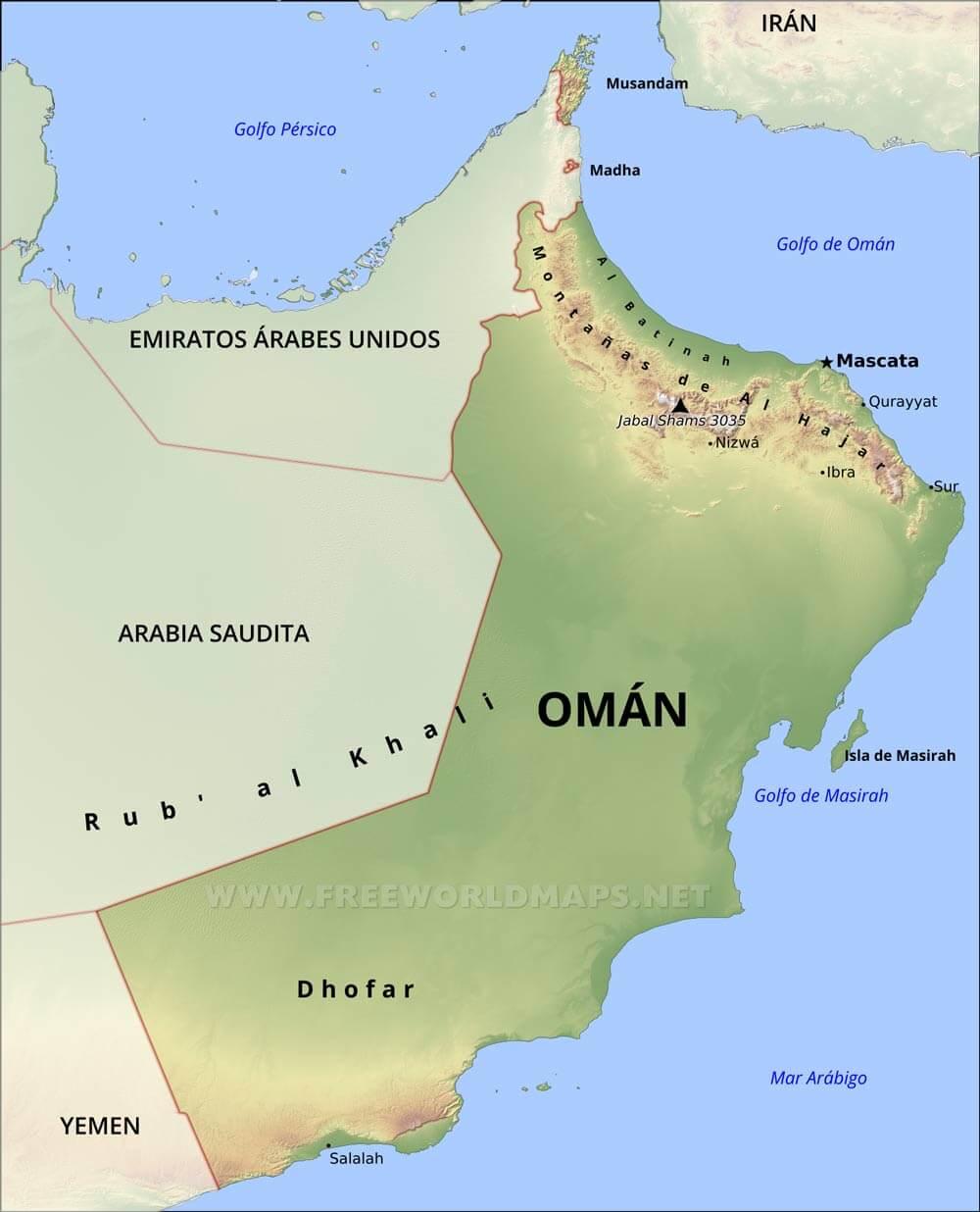 Resultado de imagen de mapa oman
