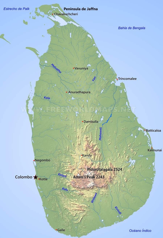 Mapa De Sri Lanka.Mapa De Sri Lanka Geografia De Sri Lanka